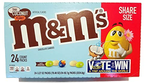 (M&M's Limited Edition Thai Coconut Peanut Chocolate Candies Share Size 3.27oz 24)