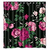 Pink and Red Shower Curtain FMSHPON Red Rose Flower Pink Floral Black Background Elegent Waterproof Shower Curtain 66 x 72 Inches