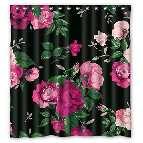 """RELAX Red Rose Flower Pink Floral Black Background Elegent Waterproof Shower Curtain 66""""(w) x 72""""(h)"""