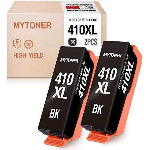 MYTONER Remanufactured Ink Cartridge Replacement for Epson 410XL 410 XL T410XL to use with Expression XP-640 XP-830 XP-7100 XP-630 XP-530 XP-635 Inkjet Printer (Black, 2- Pack)
