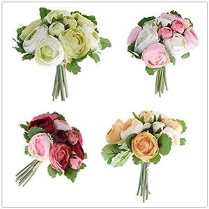 BESTOYARD 10pcs Artificial Flowers Camellia Bridal Wedding Bouquet Bridesmaid Bride Toss Bouquet Home Decoration (Pink & White) 6