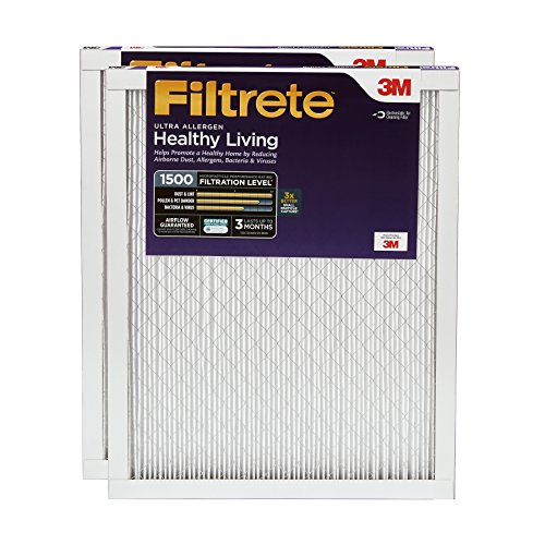Filtrete MPR 1500 20 x 20 x 1 Healthy Living Ultra Allergen Reduction AC Furnace Air Filter, Delivers Cleaner Air Throughout Your Home, 2-Pack - UR02-2PK-6E