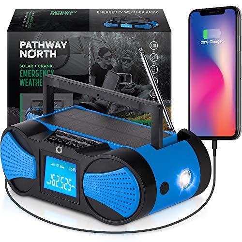 Pathway North NOAA Weather Radio - Hand Crank Solar Radio - LCD Screen - AM/FM/WB Radio Stations - Emergency LED Flashlight, SOS Signal, 4000 mAh Cell Phone Charger
