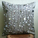 """Handmade Grey Throw Pillows Cover for Couch, Lined Crystals Pillows Cover, 16""""x16"""" Pillows Cover, Square Silk Pillows Covers for Couch, Geometric Modern Pillow Covers - Diamond Strings"""