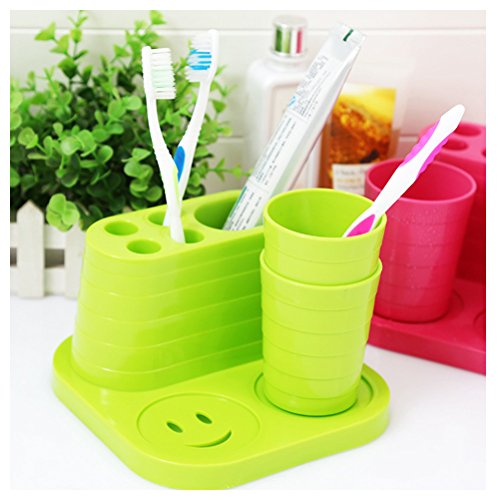WSHINE PP Toothbrush Holder Stands Toothpaste Cup Storage Bathroom (green)
