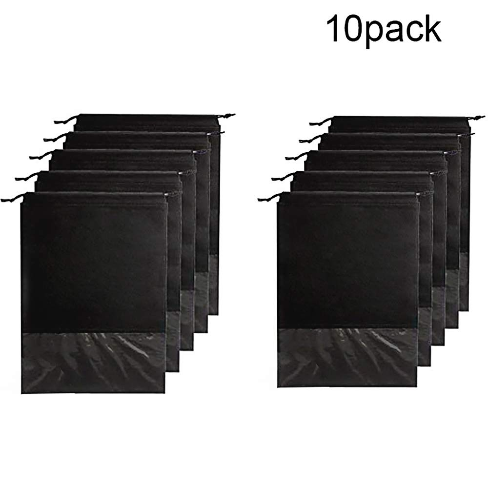 Shoe Bags for Storage pensenion Dust-proof Space Saving Organizer 10 pcs Black
