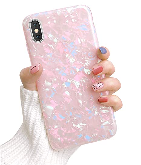 huge discount 5118b f05bf Dailylux Case iPhone Xs Max,Cute Phone Case Girls Women Glitter Pretty  Design Protective Slim Shockproof Pearly-Lustre Shell Bumper Soft Silicone  TPU ...