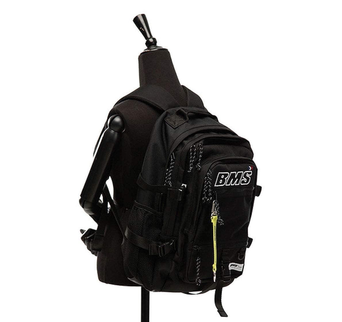 BMSFRANCE BMS UTILITY BACKPACK バックパックのメッシュバックパック学生カバンバッグバックパック大容量旅行通学遠足ユニセックスバッグ多機能バッグ(海外直送)  ブラック B07QZQ7V4Z