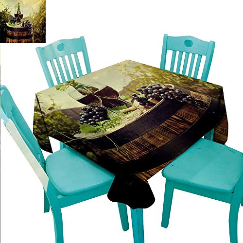 WilliamsDecor Wine Washable Table Cloth Scenic Tuscany Landscape with Barrel Couple of Glasses and Ripe Grapes Growth Great for Buffet Table 60