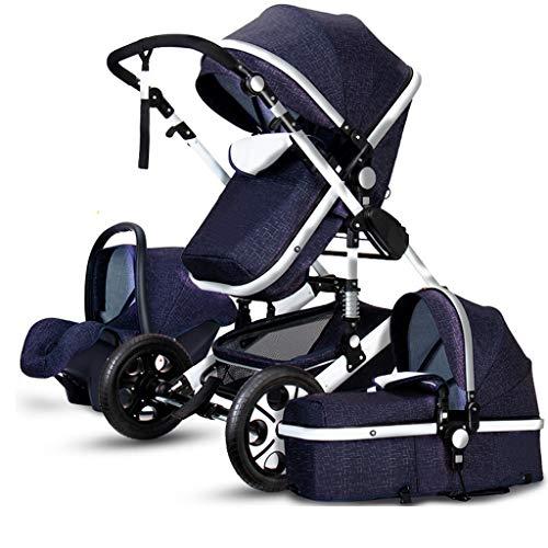 KHUY 2 in 1 Baby Stroller, High Landscape Infant Stroller & Reversible Pram, Foldable Pushchair with Adjustable Canopy, (Color : Blue)