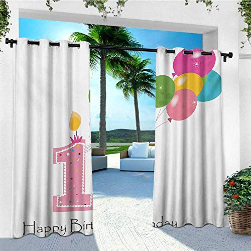 leinuoyi 1st Birthday, Outdoor Curtain Ties, Baby Girl Toddler Party Candlestick with Colorful Balloons Print, Outdoor Curtain Panels for Patio Waterproof W108 x L96 Inch Pale Pink and White