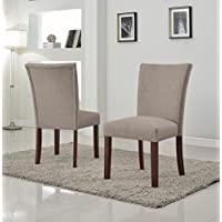 US Pride Furniture Sally Collection Classic Fabric Upholstered Dining Room Armless Accent Chair, Set of 2 Brown
