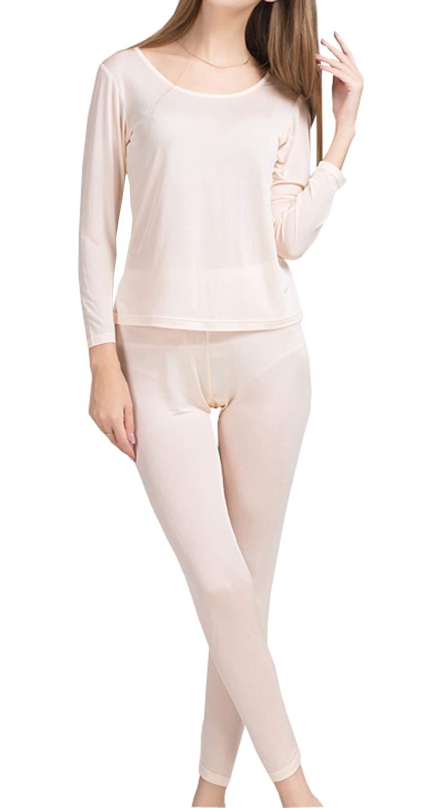METWAY Women's Silk Long Johns |Silk Thermal Underwear Sets|Winter Silk Long Underwear (Small, Fleshcolor) by METWAY
