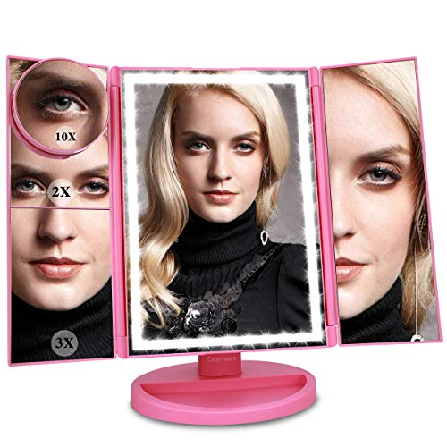 Ceenwes Upgrade Version Makeup Mirror 180 Trifold LED Vanity Mirror Adjustable Touch Screen Cosmetic Mirror with 36 LED Lights Lighted Makeup Mirror with 4 Magnification 1X 2X 3X 10X Mirrors