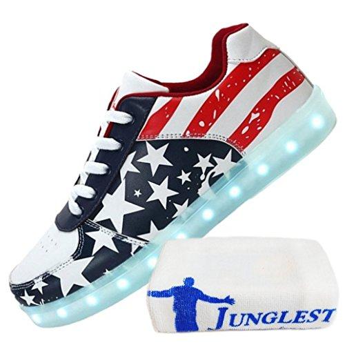 (Present:kleines Handtuch)JUNGLEST® Ezflora Unisex Damen Herren USB Charging LED leuchtende Schuhe blinkende amerikanische Flagge laufende Schuhe leuchten Paare zufällige Turns Rot