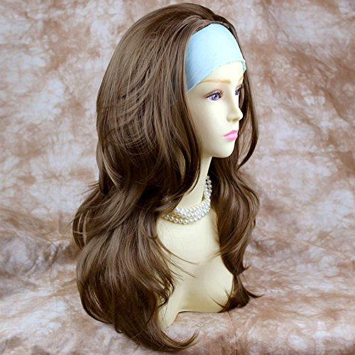 Light Brown Long 3/4 Wig Fall Hairpiece Wavy Layered Hair - Hairpiece Fall