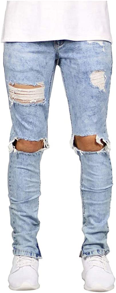 Stoota Men Slim Hole Zipper Rip Frayed Denim Jeans,Skinny Pants Distressed Trousers