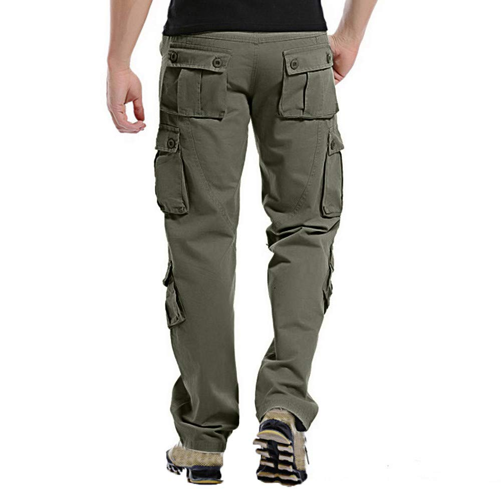 Mens Fashion Casual Outdoors Button Multi-Pocket Work Trouser Cargo Long Pants