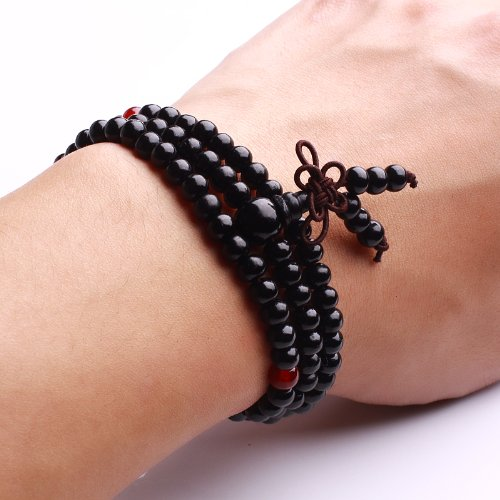 6mm Black Sandalwood Prayer Mala Tibet Buddhist Meditation Necklace Bracelet
