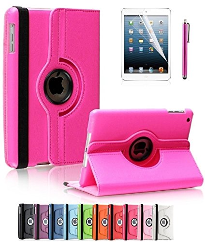 Apple iPad 2/3/4 Case, CINEYO(TM) 360 Degree Rotating Stand Case Cover with Auto Sleep / Wake Feature for iPad 2/3/4(10 Colors)this case is for Apple iPad 2 3 4 (Hot Pink)