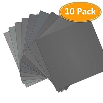 10pcs Grit 1000 2000 3000 5000 Wet and Dry Sandpaper Sheets Super Fine Sanding