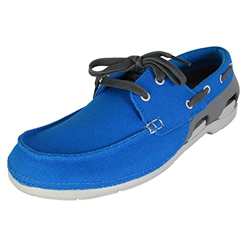 Crocs Mens Beach Line Lace Up Boat Shoes, Ocean/Smoke, US -