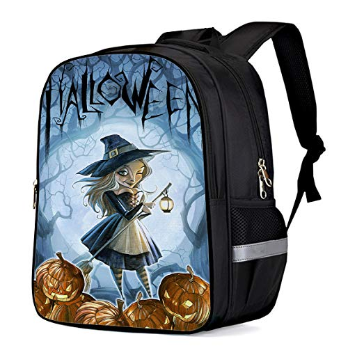 School Backpack Large Capacity Sexy Witch and Pumpkins 3D Printed Children School Bags Kids Bookbag for Boys Girls ()