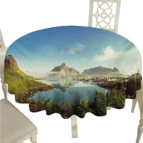 Creek Deer Corner (Wrinkle Resistant Tablecloth European Reine Creek in Norway in a Sunny Fall Day Tranquil Peaceful Vacation Image Print Excellent Durability D60 Suitable for picnics,queuing,Family)