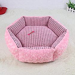 Vivian Inc Beds & Furniture - Pink Dog Bed Kennel Soft Dog Mats Puppy Cat Bed Round Pet House Nest for Small Dog (Pink,45x45x15cm)