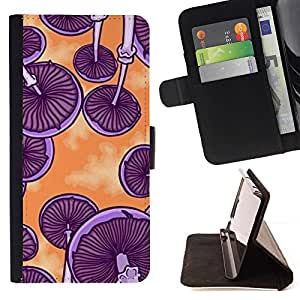 For Apple Iphone 4 / 4S Mushrooms Purple Orange Art Psychedelic Style PU Leather Case Wallet Flip Stand Flap Closure Cover