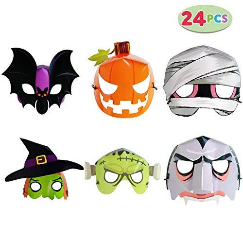 WEYFLY 24 Pack Halloween Fluorescent Paper Mask, Halloween Mask Craft Kit, Halloween Kids Party Favors, Halloween Crafts Supplies, Halloween Prizes, Pumpkin/Green Monster/Bat/Witch/Vampire/Mummy
