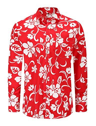 Jandukar Men's Funky Printed Shirt Casual Long Sleeve Floral Paisley Button Down