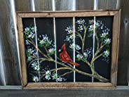 Cardinal, spring, birds, bird, window screen, screen art, red bird, Spring cardinal on a tree, recycled, up-cy
