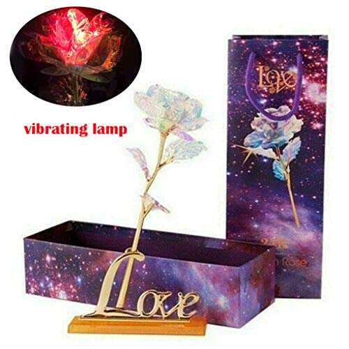 Eoeth Galaxy Rose with Love Base Everlasting Crystal The Best Choice Creative Gilt Rose with Line Light Rose + Gift Box + Love Base(Shipped by US)
