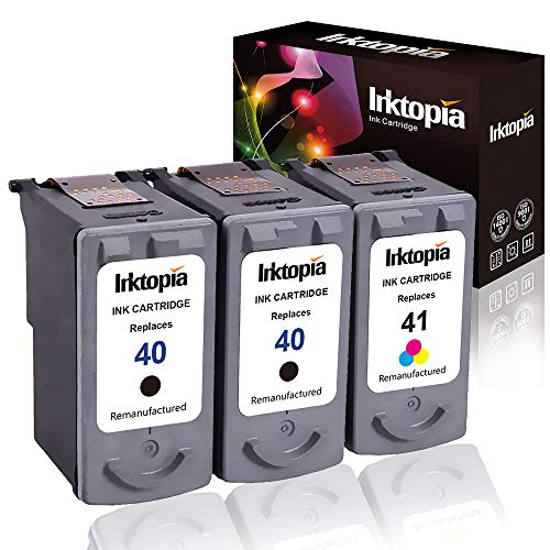 3 Pack Remanufactured High Yield Ink Cartridge Replacement for Canon PG 40 & CL 41 0615B002 0617B002 (2 Black,1 Tri Color) Comptaible with Canon PIXMA - MP140 MP150 MP160 MP170 MP180 MP190 MP210 ect