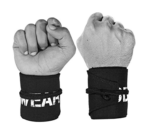 Wrist Wraps for WODs, Fitness, Cross Training, Exercise, Bodybuilding, Olympic Weightlifting - Colors for Men and Women - Once Size Fits All - 100% (Black/Black)