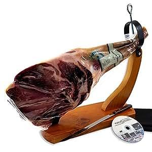 Iberico Ham Leg Cured for 24 Months, 20-25 Servings + Ham Holder, Carving Knife, Ham Cover + Guide