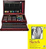 Bundle Includes 2 Items - Art 101 142-Piece Wood Art Set and Strathmore 300 Series Sketch Pad, 9''x12'' Wire Bound, 100 Sheets
