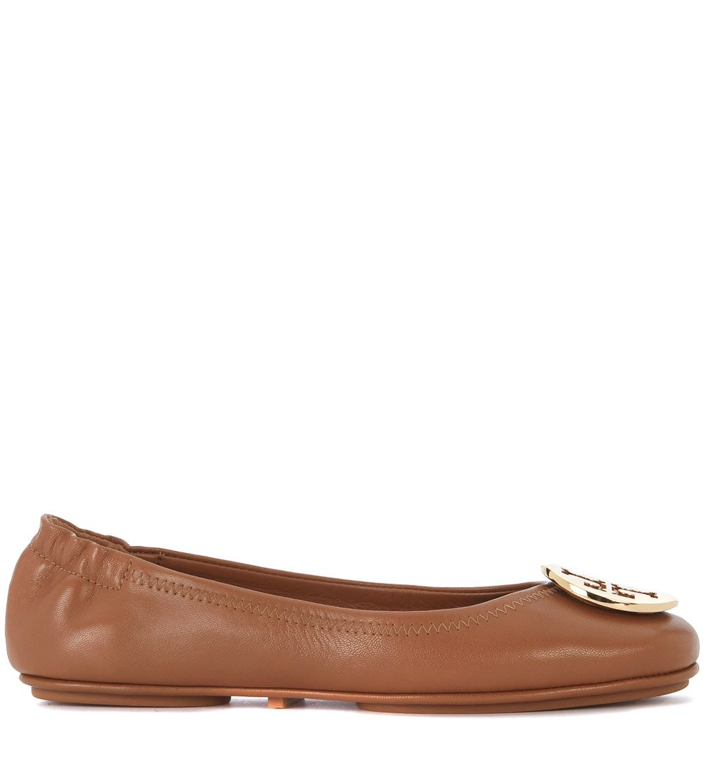Tory Burch Minnie Travel Ballet Flat, Royal Tan/Gold (8)