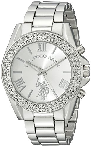U.S. Polo Assn. Women's USC40035 Rhinestone-Accented Silver-Tone Watch (Silver Womens Watches)