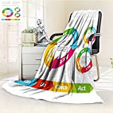 aolankaili Luminous Microfiber Throw Blanket Quality Management System Plan do Check act Circle Isolated on White Glow in The Dark Constellation Blanket, Soft and Durable Polyester(60''x 50'')