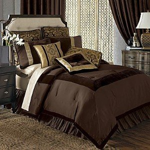 chris madden savona chocolate brown gold velvet taffeta comforter set queen chocolate brown