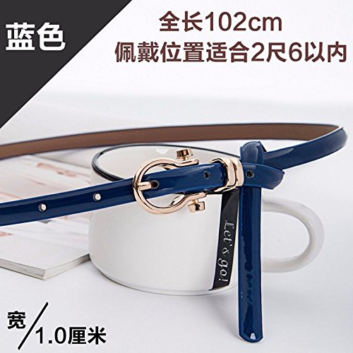 YISANLING-YD Woman belt knotted dresses simple pins buttoned cowhide leather belts blue 40.15