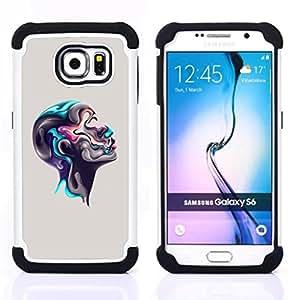 For Samsung Galaxy S6 G9200 - Colorful Abstract Head Dual Layer caso de Shell HUELGA Impacto pata de cabra con im??genes gr??ficas Steam - Funny Shop -