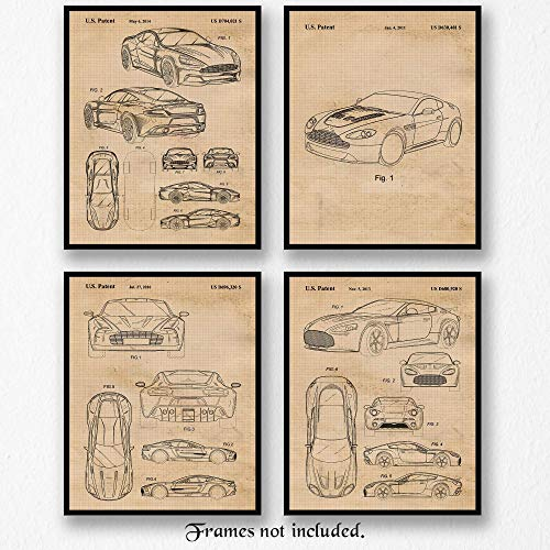 Original Aston Martin Vanquish, Vantage Zagato, Vantage V12, One-77 Patent Art Poster Prints- Set of 4 (Four 8x10) Unframed- Great Wall Art Decor Gifts Under $20 for Home, Office, Garage, Man Cave