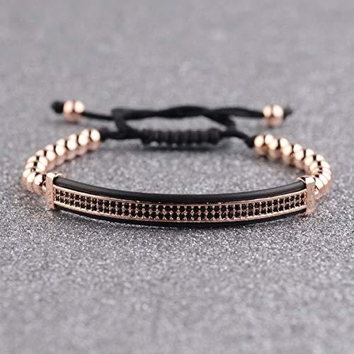 (Werrox Natural Stone Charm Mens Fashion Bracelet Top Copper Micro Pave Black CZ Jewelry | Model BRCLT - 2491 |)