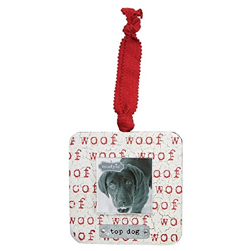 Mud Pie Wood and Tin Top Dog Frame Ornament, Multi-color, 4 inches x 4 inches (Frame Pie Picture Mud Wood)