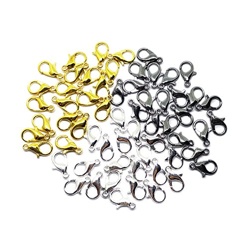 Beading Station 60-Piece Mix Lobster Claw Clasps for Jewelry Making, 12mm, Silver/Gold/Black (Claw Brooch)