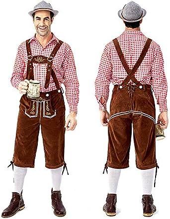 Ocamo Pantalones de Traje Regional Oktoberfest alemán Oktoberfest Camisa a Cuadros Bordado Tirantes Set Traje bávaro Traje Traje Traje Traje Traje de Piel Medias de Cuadros Rojos y Marrones. L: Amazon.es: Ropa
