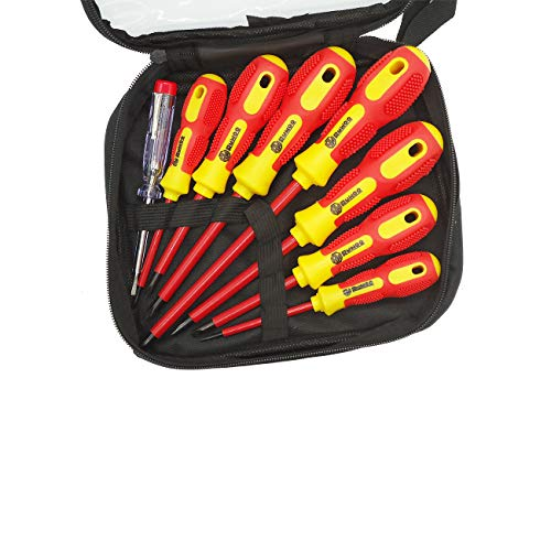 RUWOO Z32008 8 Piece Slotted and Phillips Insulated Electrical Screwdriver Set 1000 Volt Magnetic CR-V Tips Soft-grip